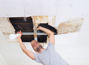 man cleaning mold on ceiling